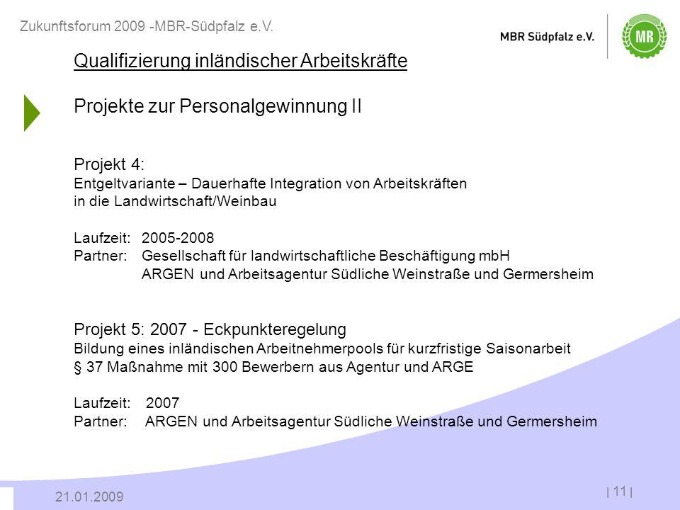 | 11 | 21.01.2009 Zukunftsforum 2009 -MBR-Südpfalz e.V. Qualifizierung inländischer Arbeitskräfte Projekte zur Personalgewinnung II Projekt 4: Entgelt