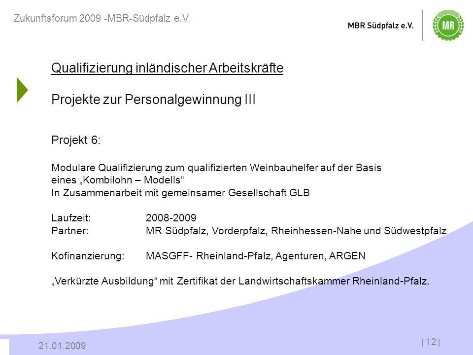 | 12 | 21.01.2009 Zukunftsforum 2009 -MBR-Südpfalz e.V. Qualifizierung inländischer Arbeitskräfte Projekte zur Personalgewinnung III Projekt 6: Modula