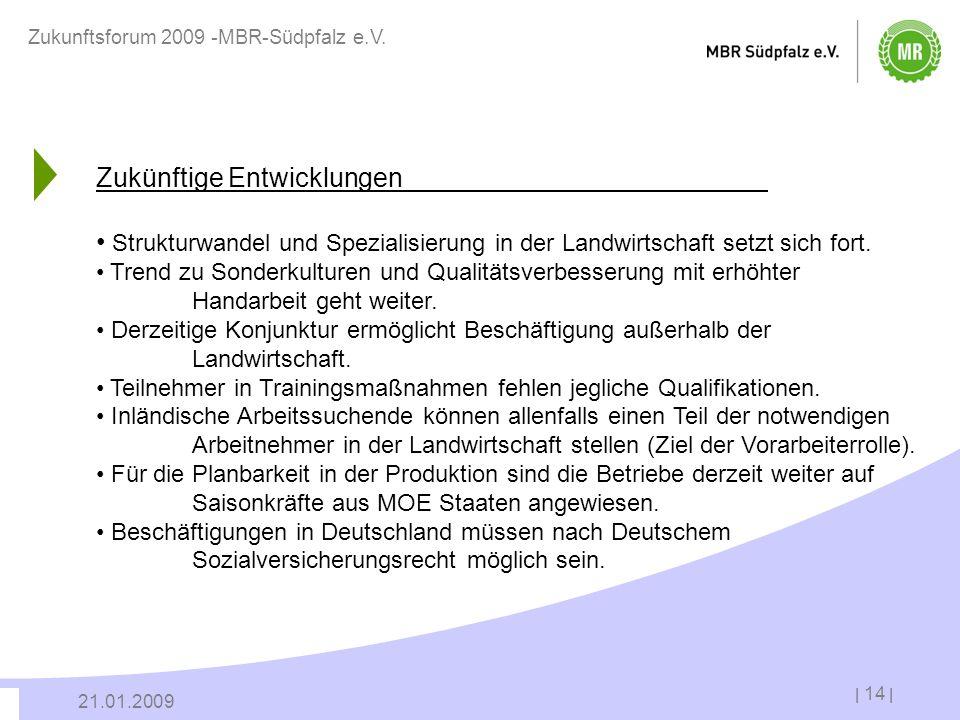 | 14 | 21.01.2009 Zukunftsforum 2009 -MBR-Südpfalz e.V. Zukünftige Entwicklungen Strukturwandel und Spezialisierung in der Landwirtschaft setzt sich f