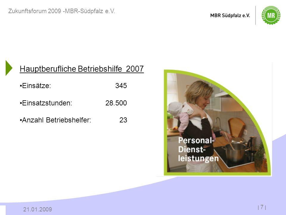 | 7 | 21.01.2009 Zukunftsforum 2009 -MBR-Südpfalz e.V. Hauptberufliche Betriebshilfe 2007 Einsätze: 345 Einsatzstunden:28.500 Anzahl Betriebshelfer: 2