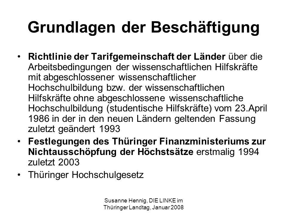 Susanne Hennig, DIE LINKE im Thüringer Landtag, Januar 2008 Grundlagen der Beschäftigung Richtlinie der Tarifgemeinschaft der Länder über die Arbeitsbedingungen der wissenschaftlichen Hilfskräfte mit abgeschlossener wissenschaftlicher Hochschulbildung bzw.