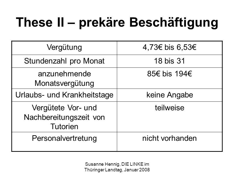 Susanne Hennig, DIE LINKE im Thüringer Landtag, Januar 2008 These II – prekäre Beschäftigung Vergütung4,73 bis 6,53 Stundenzahl pro Monat18 bis 31 anz