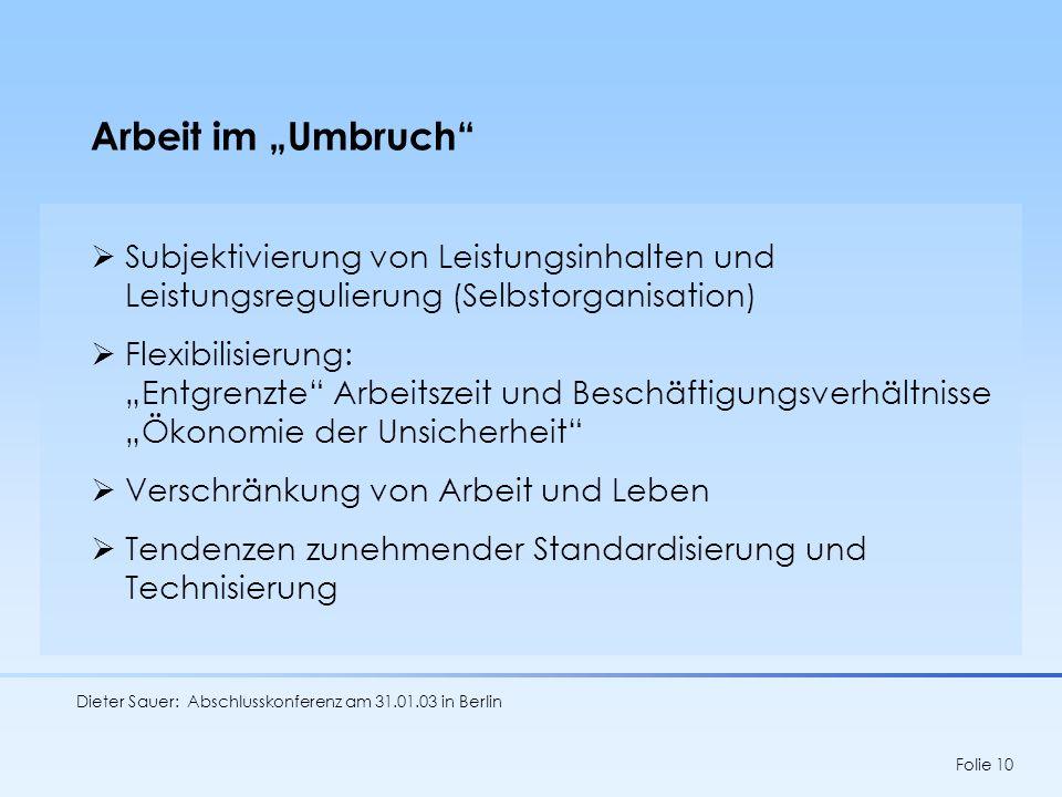 Dieter Sauer: Abschlusskonferenz am 31.01.03 in Berlin Folie 10 Arbeit im Umbruch Subjektivierung von Leistungsinhalten und Leistungsregulierung (Selb