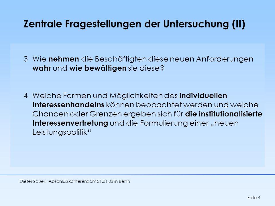 Dieter Sauer: Abschlusskonferenz am 31.01.03 in Berlin Folie 5 Wissenschaftliche Verortung Qualitativer Wandel von Dienstleistungsarbeit -ein unterbelichtetes Forschungsfeld Prognosen zur Entwicklung von Dienstleistungsarbeit Entwicklungspfade der Rationalisierung