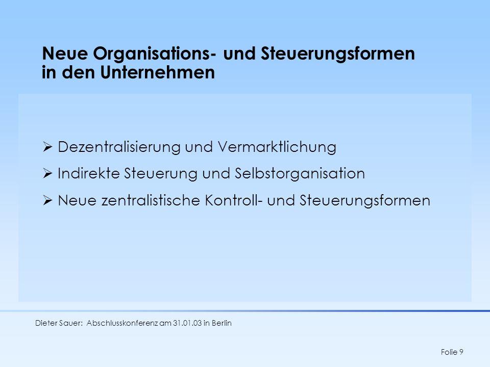 Dieter Sauer: Abschlusskonferenz am 31.01.03 in Berlin Folie 10 Arbeit im Umbruch Subjektivierung von Leistungsinhalten und Leistungsregulierung (Selbstorganisation) Flexibilisierung: Entgrenzte Arbeitszeit und Beschäftigungsverhältnisse Ökonomie der Unsicherheit Verschränkung von Arbeit und Leben Tendenzen zunehmender Standardisierung und Technisierung