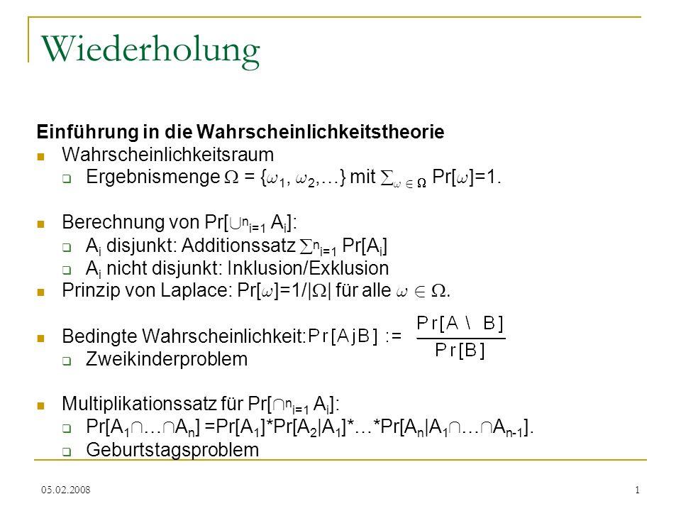 05.02.200812 Schnitt, Vereinigung unabh.Ereignisse Lemma: Seien A, B, C unabhängig.