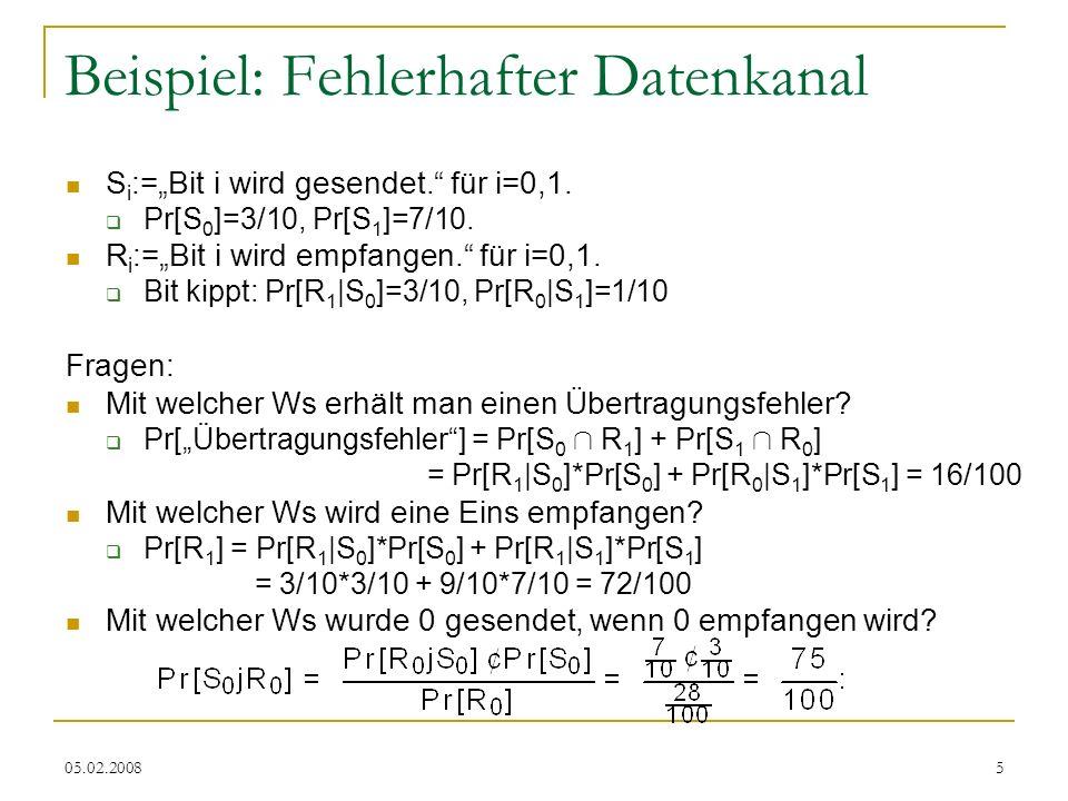 05.02.20086 Unabhängigkeit von Ereignissen Zweimaliges Würfeln ={(i, j) 2 [6] 2 } Pr[ .