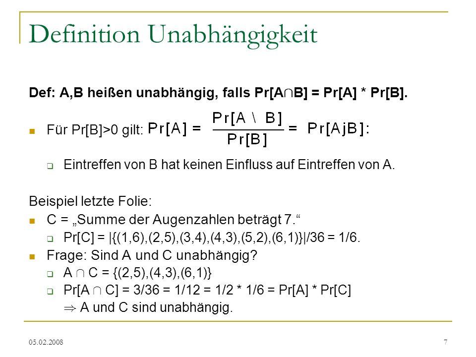 05.02.20087 Definition Unabhängigkeit Def: A,B heißen unabhängig, falls Pr[A Å B] = Pr[A] * Pr[B].