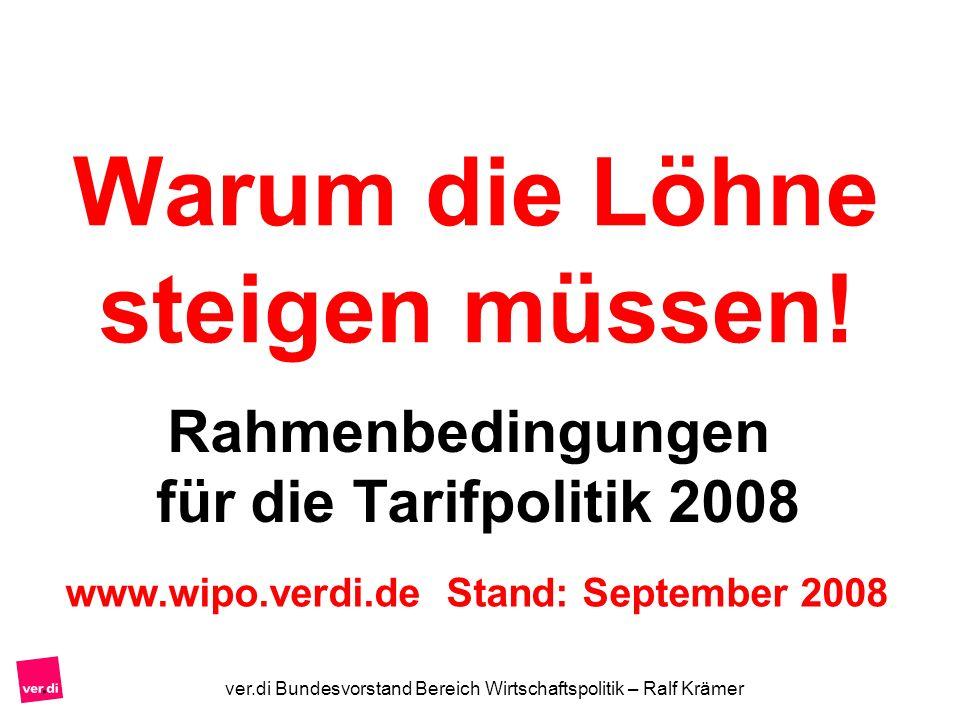 ver.di Bundesvorstand Bereich Wirtschaftspolitik – Ralf Krämer Warum die Löhne steigen müssen! Rahmenbedingungen für die Tarifpolitik 2008 www.wipo.ve