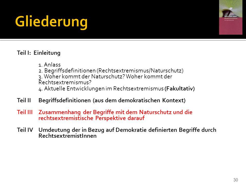Teil I: Einleitung 1. Anlass 2. Begriffsdefinitionen (Rechtsextremismus/Naturschutz) 3. Woher kommt der Naturschutz? Woher kommt der Rechtsextremismus