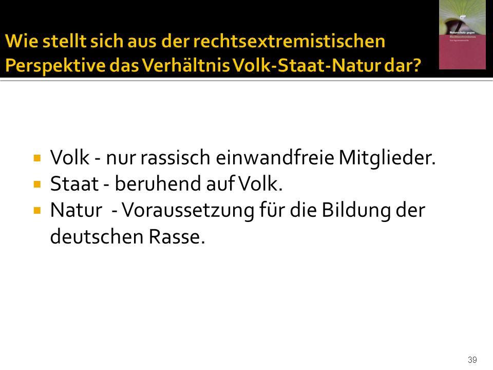 Volk - nur rassisch einwandfreie Mitglieder. Staat - beruhend auf Volk. Natur - Voraussetzung für die Bildung der deutschen Rasse. 39