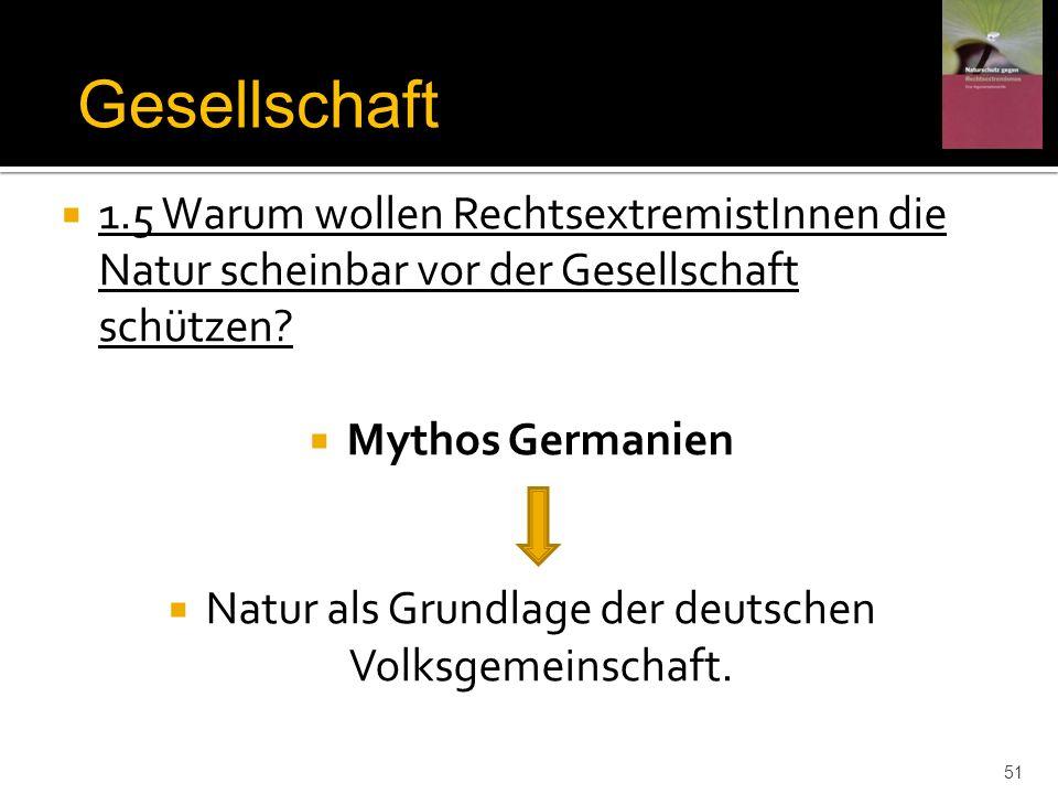 1.5 Warum wollen RechtsextremistInnen die Natur scheinbar vor der Gesellschaft schützen? Mythos Germanien Natur als Grundlage der deutschen Volksgemei