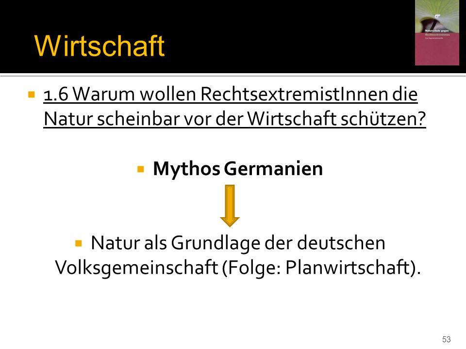 1.6 Warum wollen RechtsextremistInnen die Natur scheinbar vor der Wirtschaft schützen? Mythos Germanien Natur als Grundlage der deutschen Volksgemeins