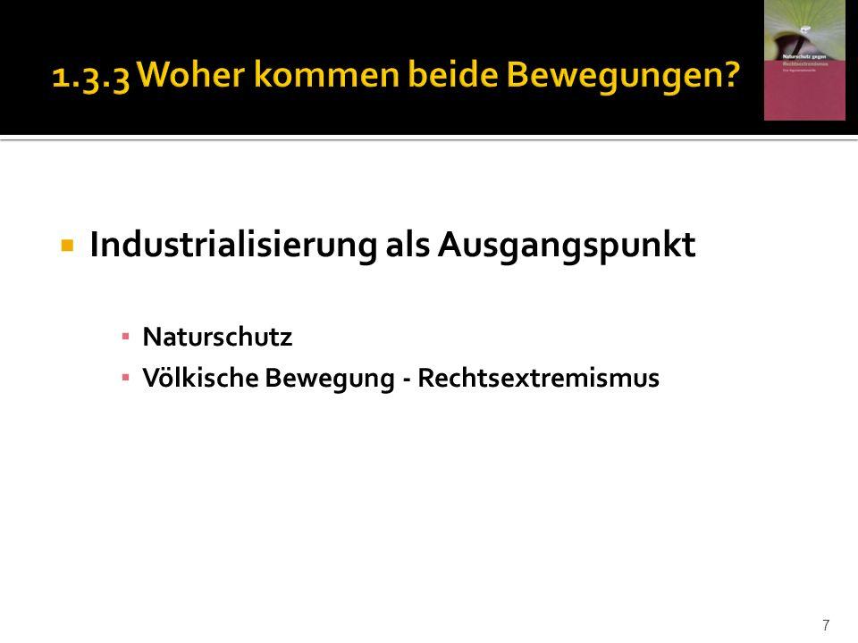 Industrialisierung als Ausgangspunkt Naturschutz Völkische Bewegung - Rechtsextremismus 7