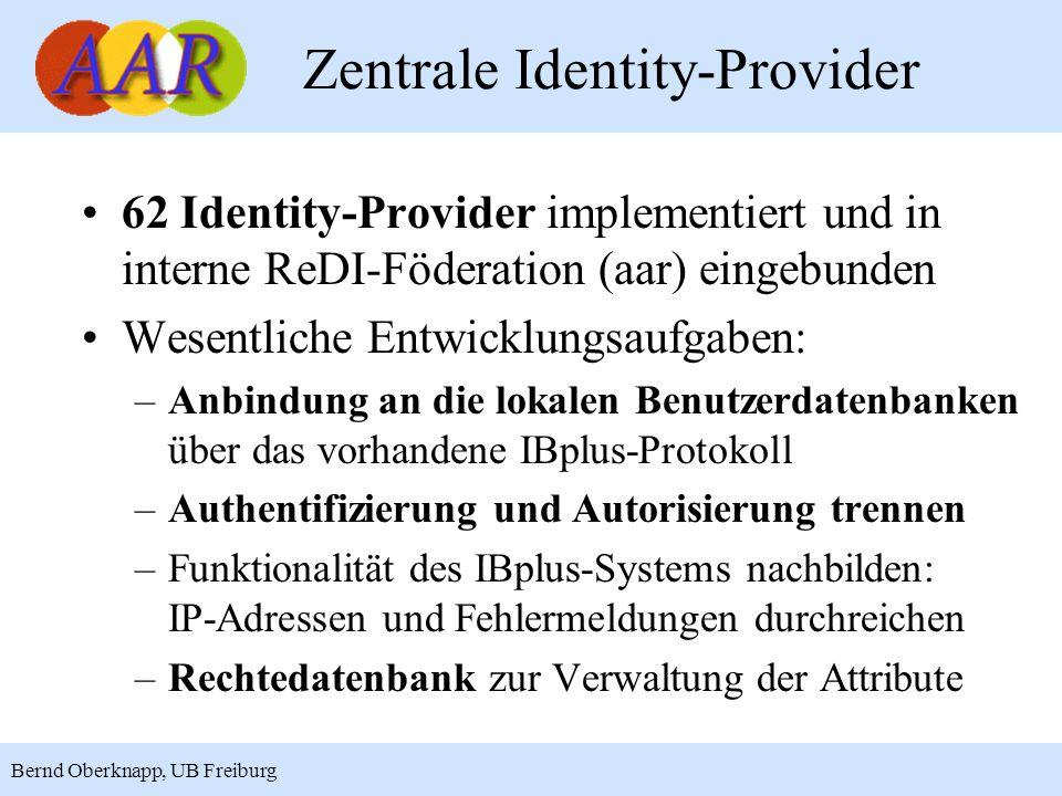 10 Bernd Oberknapp, UB Freiburg Zentrale Identity-Provider 62 Identity-Provider implementiert und in interne ReDI-Föderation (aar) eingebunden Wesentl