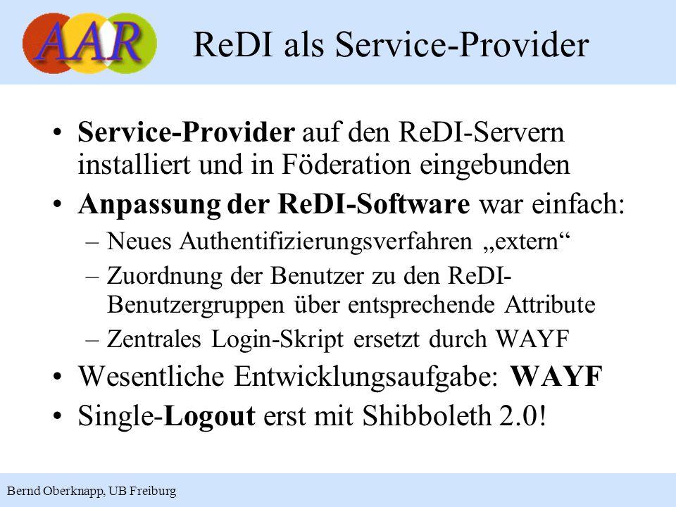 11 Bernd Oberknapp, UB Freiburg ReDI als Service-Provider Service-Provider auf den ReDI-Servern installiert und in Föderation eingebunden Anpassung de