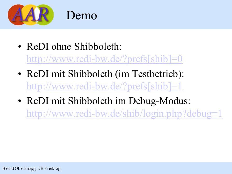 14 Bernd Oberknapp, UB Freiburg Demo ReDI ohne Shibboleth: http://www.redi-bw.de/?prefs[shib]=0 http://www.redi-bw.de/?prefs[shib]=0 ReDI mit Shibbole