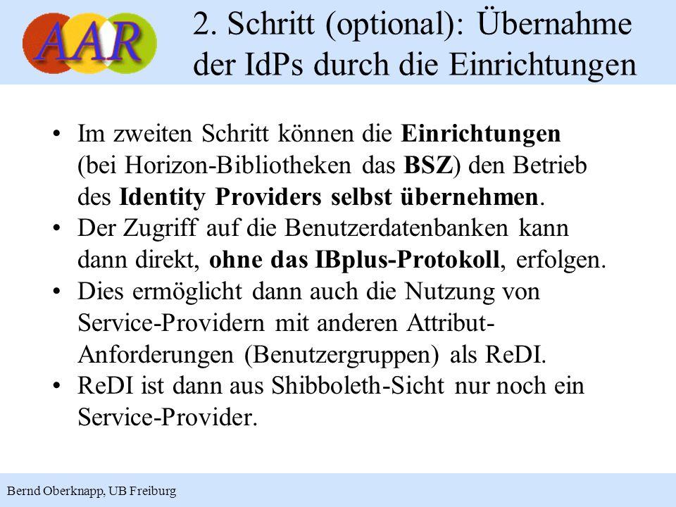 15 Bernd Oberknapp, UB Freiburg 2. Schritt (optional): Übernahme der IdPs durch die Einrichtungen Im zweiten Schritt können die Einrichtungen (bei Hor