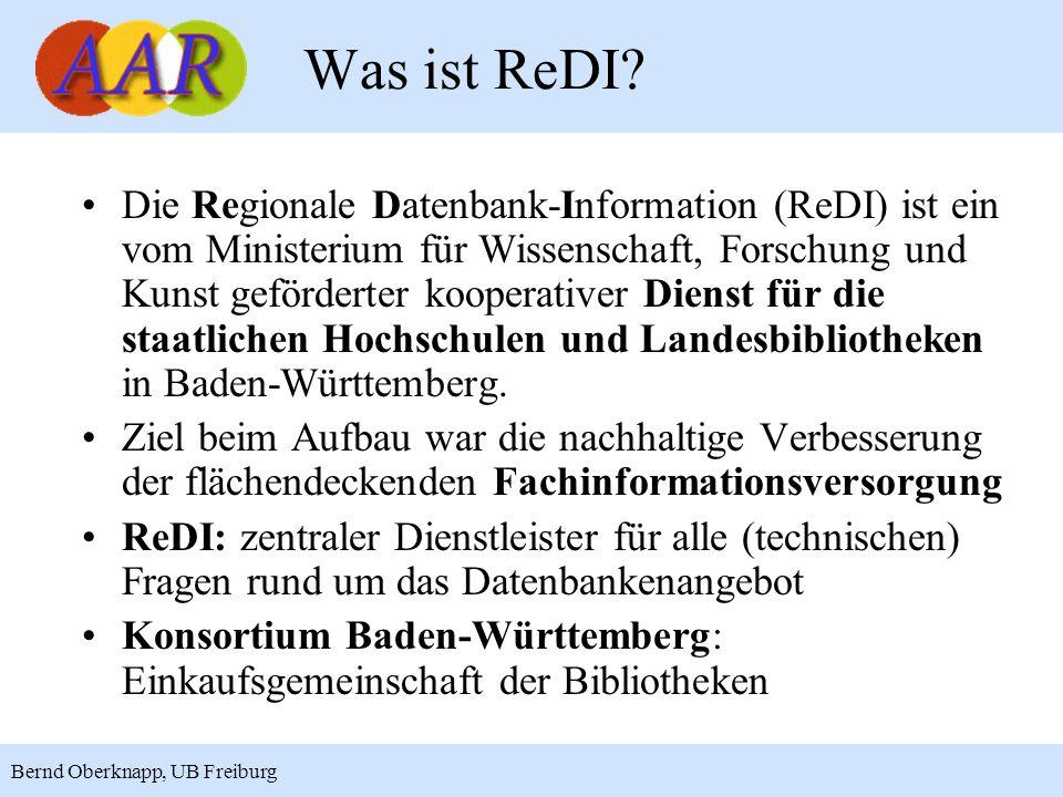 13 Bernd Oberknapp, UB Freiburg ReDI als SP: Technik II Nach erfolgreicher Authentifizierung des Benutzers am IdP stellt der SP /shib/login.php die Attribute über HTTP-Header zur Verfügung: –eduPersonEntitlement (vgl.