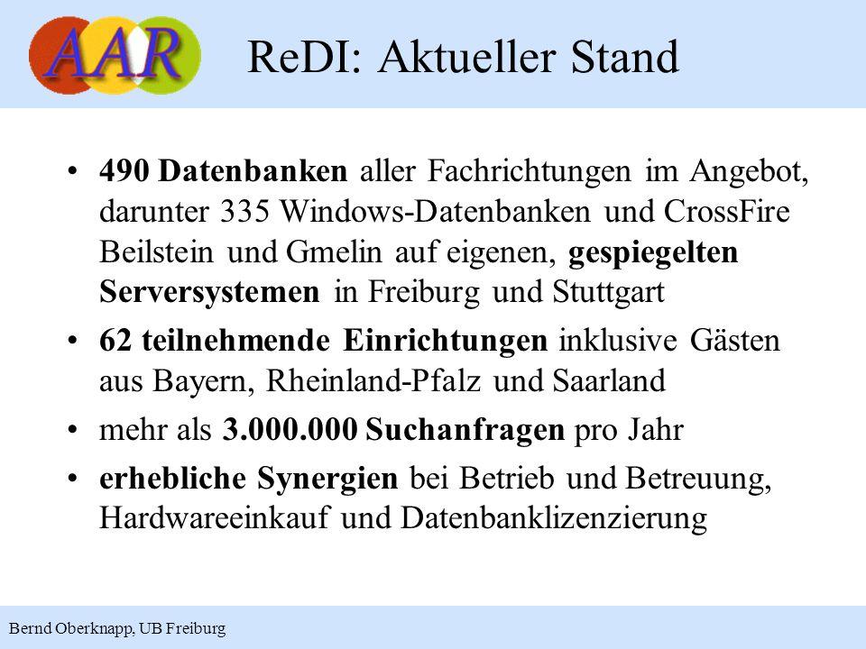 3 Bernd Oberknapp, UB Freiburg ReDI: Aktueller Stand 490 Datenbanken aller Fachrichtungen im Angebot, darunter 335 Windows-Datenbanken und CrossFire B