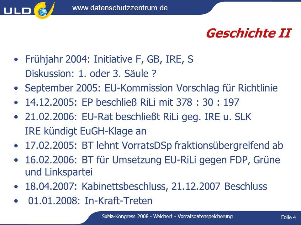 www.datenschutzzentrum.de SuMa-Kongress 2008 - Weichert - Vorratsdatenspeicherung Folie 4 Geschichte II Frühjahr 2004: Initiative F, GB, IRE, S Diskus