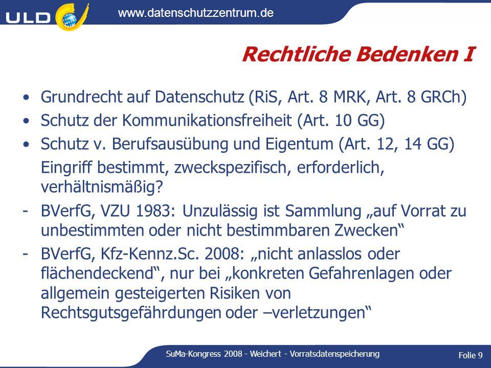 www.datenschutzzentrum.de SuMa-Kongress 2008 - Weichert - Vorratsdatenspeicherung Folie 9 Rechtliche Bedenken I Grundrecht auf Datenschutz (RiS, Art.