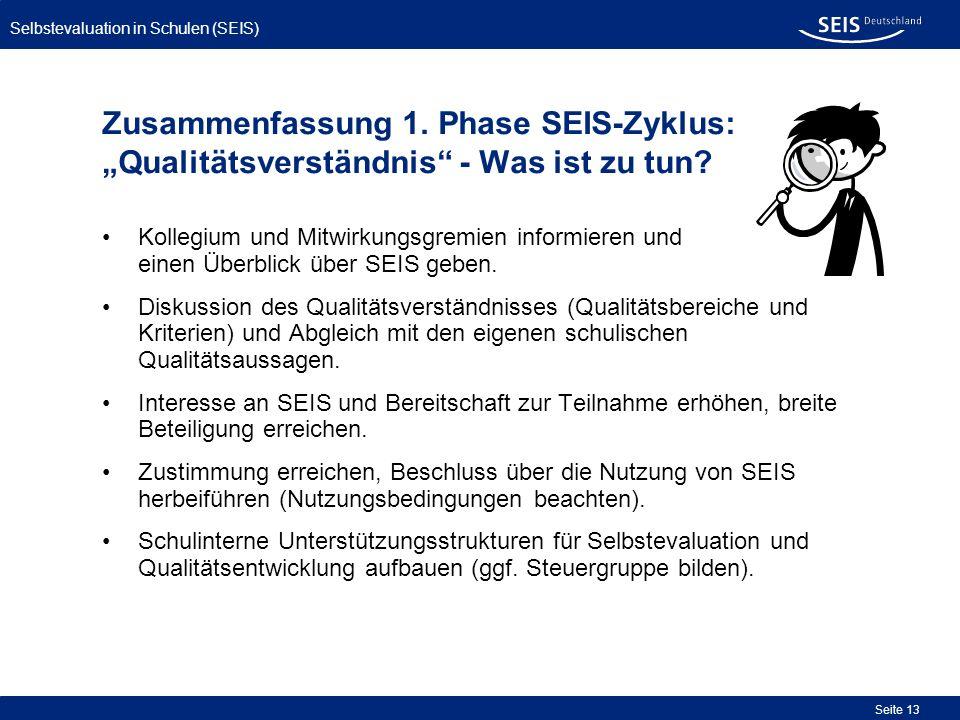 Selbstevaluation in Schulen (SEIS) Seite 13 Zusammenfassung 1. Phase SEIS-Zyklus: Qualitätsverständnis - Was ist zu tun? Kollegium und Mitwirkungsgrem