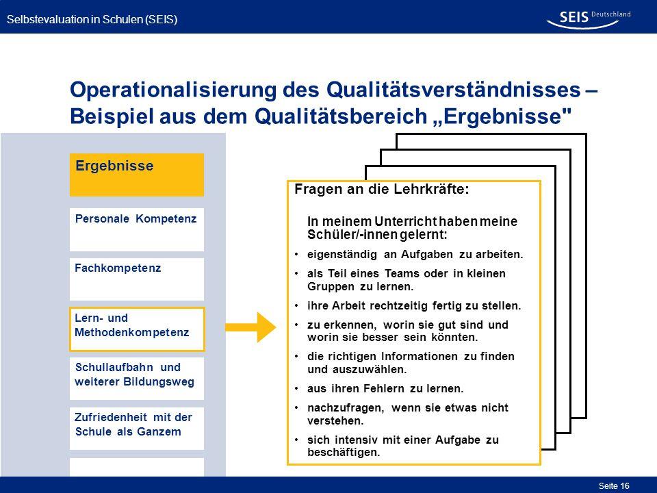 Selbstevaluation in Schulen (SEIS) Seite 16 Operationalisierung des Qualitätsverständnisses – Beispiel aus dem Qualitätsbereich Ergebnisse