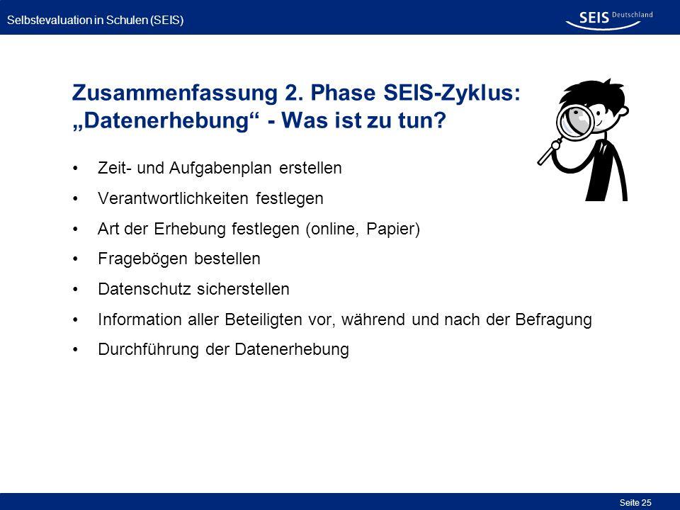 Selbstevaluation in Schulen (SEIS) Seite 25 Zusammenfassung 2. Phase SEIS-Zyklus: Datenerhebung - Was ist zu tun? Zeit- und Aufgabenplan erstellen Ver