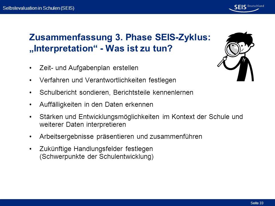 Selbstevaluation in Schulen (SEIS) Seite 33 Zusammenfassung 3. Phase SEIS-Zyklus: Interpretation - Was ist zu tun? Zeit- und Aufgabenplan erstellen Ve