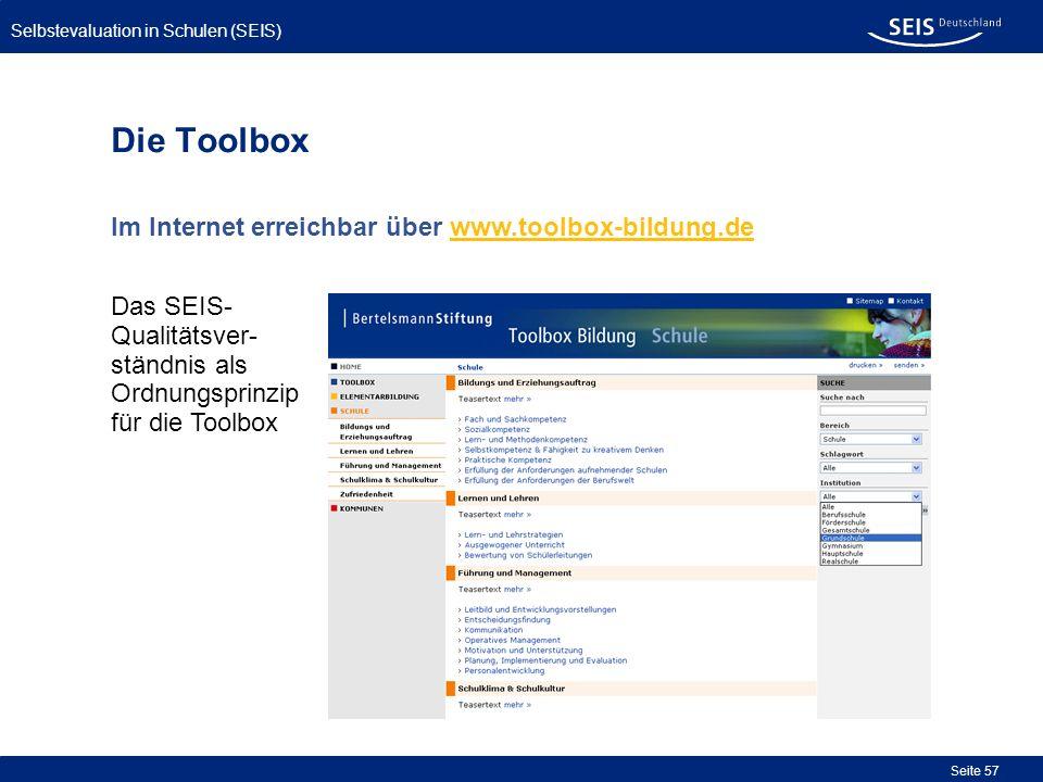 Selbstevaluation in Schulen (SEIS) Seite 57 Die Toolbox Im Internet erreichbar über www.toolbox-bildung.de Das SEIS- Qualitätsver- ständnis als Ordnun