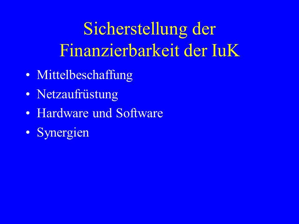 Sicherstellung der Finanzierbarkeit der IuK Mittelbeschaffung Netzaufrüstung Hardware und Software Synergien