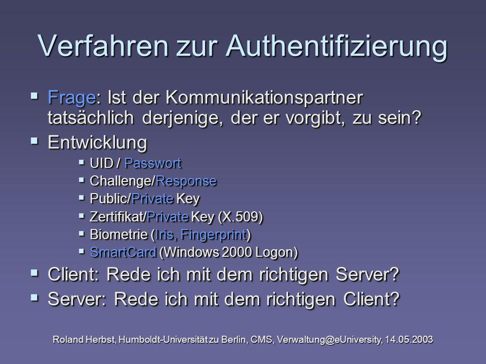 Roland Herbst, Humboldt-Universität zu Berlin, CMS, Verwaltung@eUniversity, 14.05.2003 Verfahren zur Authentifizierung Frage: Ist der Kommunikationspa