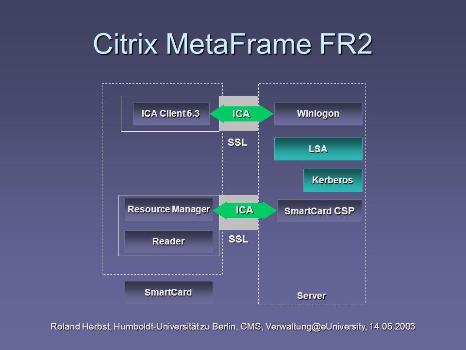 Roland Herbst, Humboldt-Universität zu Berlin, CMS, Verwaltung@eUniversity, 14.05.2003 Citrix MetaFrame FR2 Server Kerberos SmartCard CSP Resource Man