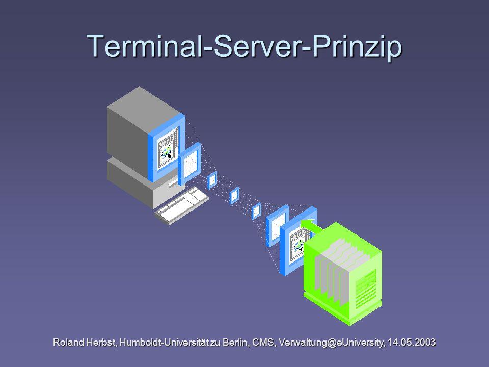 Roland Herbst, Humboldt-Universität zu Berlin, CMS, Verwaltung@eUniversity, 14.05.2003 Terminal-Server-Prinzip