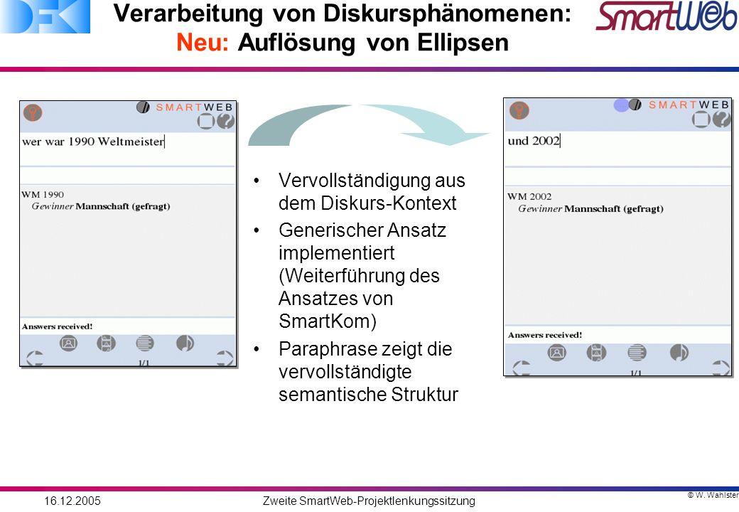 © W. Wahlster 16.12.2005Zweite SmartWeb-Projektlenkungssitzung Verarbeitung von Diskursphänomenen: Neu: Auflösung von Ellipsen Vervollständigung aus d