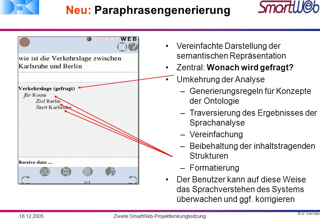 © W. Wahlster 16.12.2005Zweite SmartWeb-Projektlenkungssitzung Neu: Paraphrasengenerierung Vereinfachte Darstellung der semantischen Repräsentation Ze