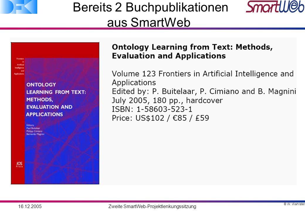 © W. Wahlster 16.12.2005Zweite SmartWeb-Projektlenkungssitzung Bereits 2 Buchpublikationen aus SmartWeb