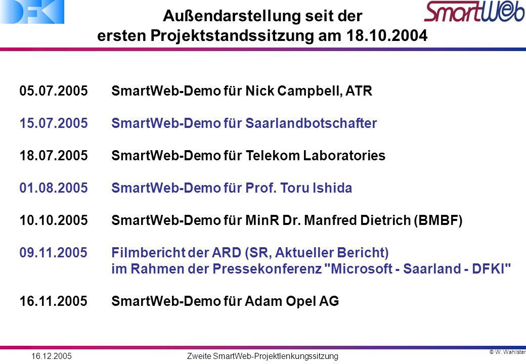 © W. Wahlster 16.12.2005Zweite SmartWeb-Projektlenkungssitzung Außendarstellung seit der ersten Projektstandssitzung am 18.10.2004 05.07.2005 SmartWeb