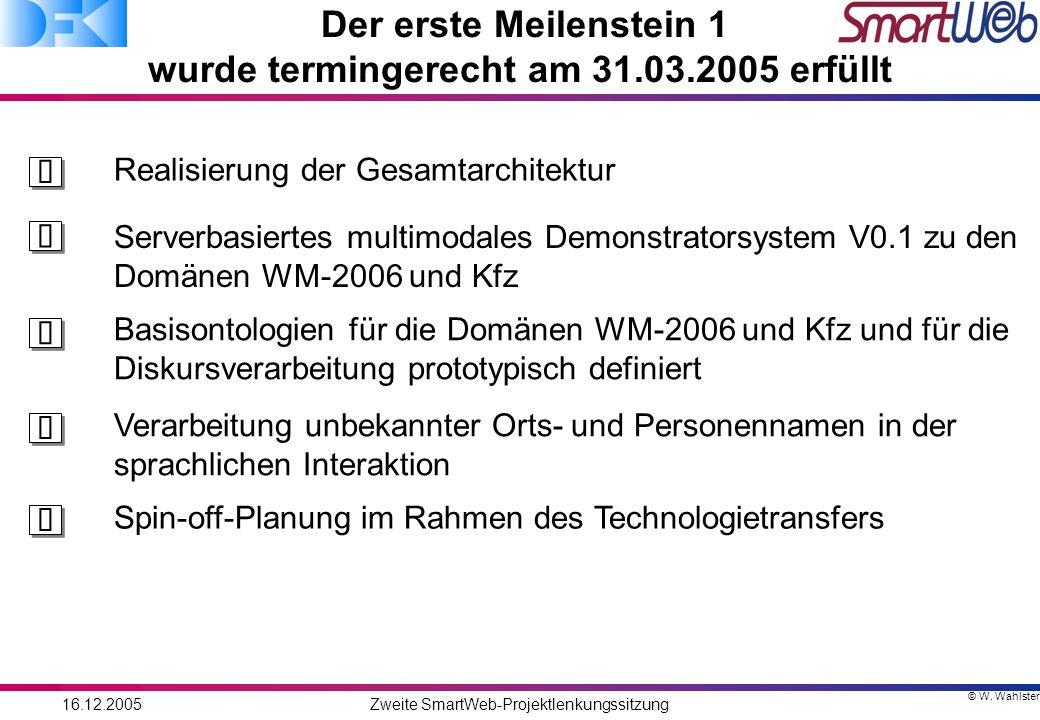 © W. Wahlster 16.12.2005Zweite SmartWeb-Projektlenkungssitzung Der erste Meilenstein 1 wurde termingerecht am 31.03.2005 erfüllt Realisierung der Gesa