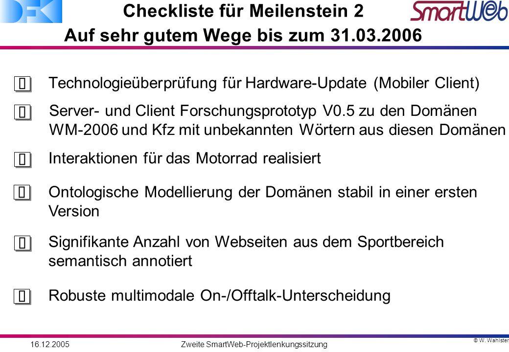 © W. Wahlster 16.12.2005Zweite SmartWeb-Projektlenkungssitzung Checkliste für Meilenstein 2 Auf sehr gutem Wege bis zum 31.03.2006 Technologieüberprüf