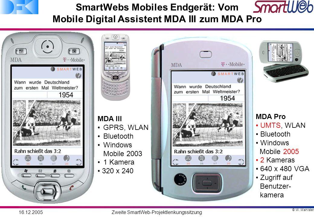 © W. Wahlster 16.12.2005Zweite SmartWeb-Projektlenkungssitzung SmartWebs Mobiles Endgerät: Vom Mobile Digital Assistent MDA III zum MDA Pro MDA III GP