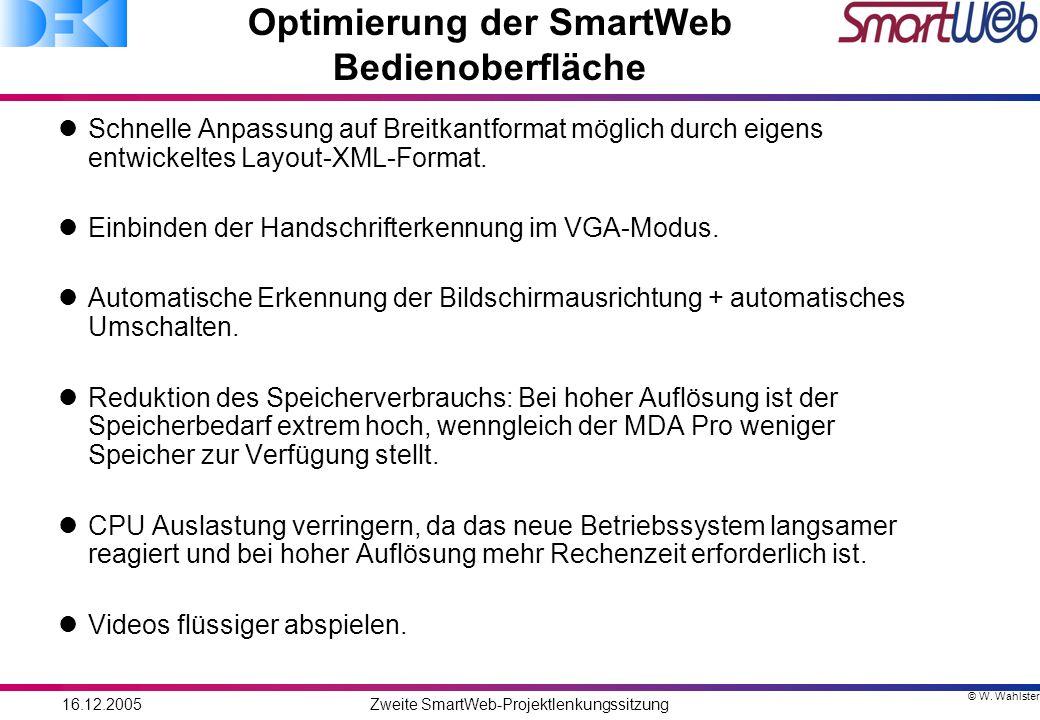 © W. Wahlster 16.12.2005Zweite SmartWeb-Projektlenkungssitzung Optimierung der SmartWeb Bedienoberfläche Schnelle Anpassung auf Breitkantformat möglic