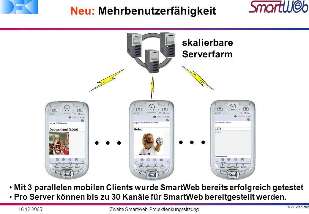 © W. Wahlster 16.12.2005Zweite SmartWeb-Projektlenkungssitzung Neu: Mehrbenutzerfähigkeit skalierbare Serverfarm Mit 3 parallelen mobilen Clients wurd