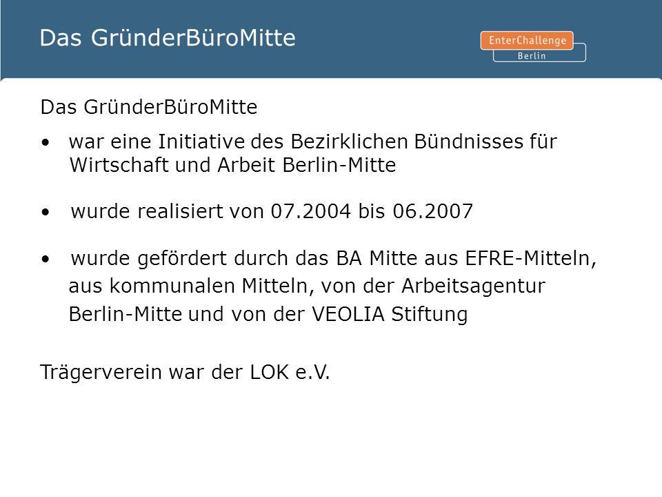Das GründerBüroMitte war eine Initiative des Bezirklichen Bündnisses für Wirtschaft und Arbeit Berlin-Mitte wurde realisiert von 07.2004 bis 06.2007 w