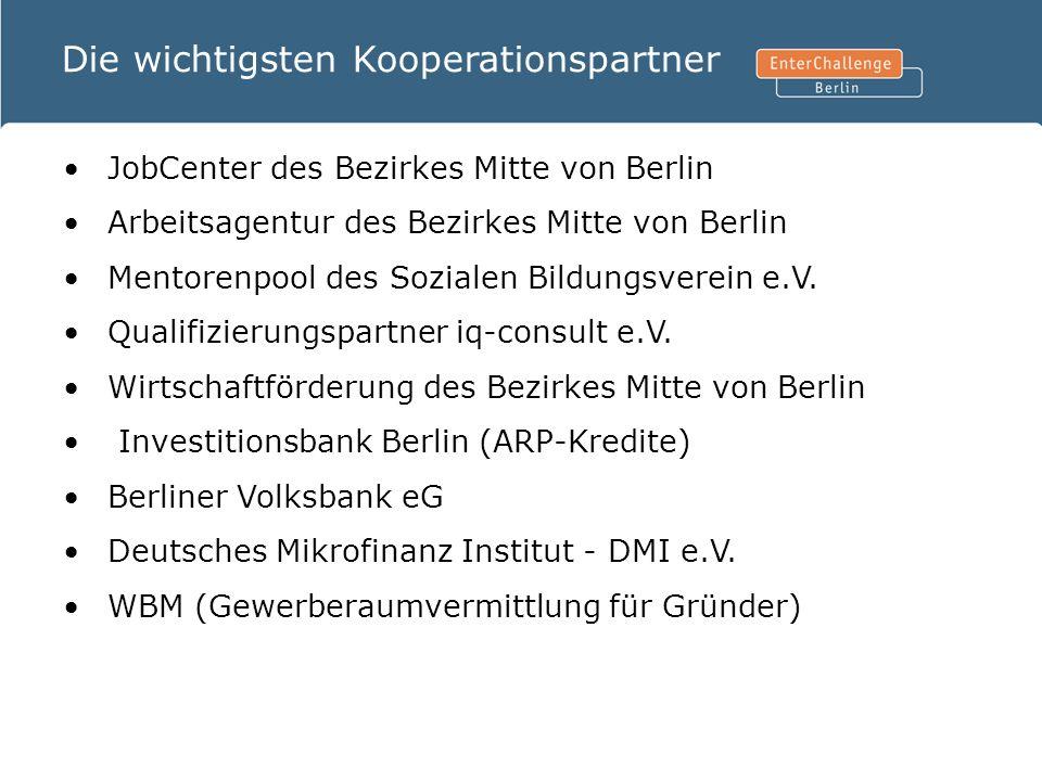 Die wichtigsten Kooperationspartner JobCenter des Bezirkes Mitte von Berlin Arbeitsagentur des Bezirkes Mitte von Berlin Mentorenpool des Sozialen Bil
