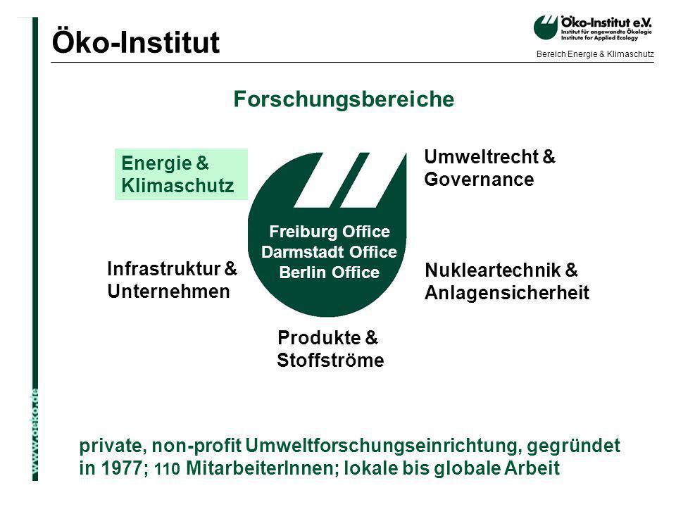 o.de Bereich Energie & Klimaschutz private, non-profit Umweltforschungseinrichtung, gegründet in 1977; 110 MitarbeiterInnen; lokale bis globale Arbeit