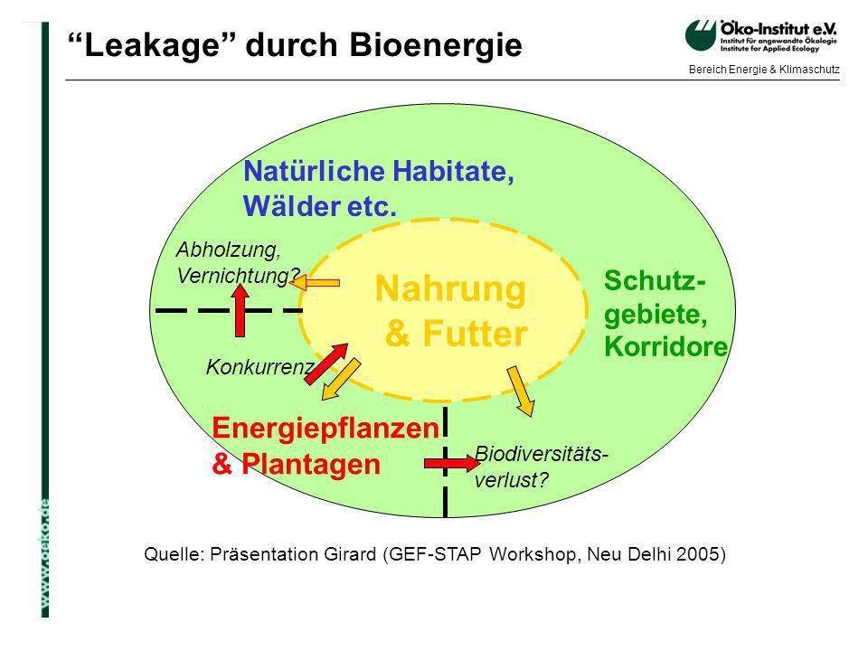 o.de Bereich Energie & Klimaschutz Leakage durch Bioenergie Quelle: Präsentation Girard (GEF-STAP Workshop, Neu Delhi 2005) Nahrung & Futter Schutz- g