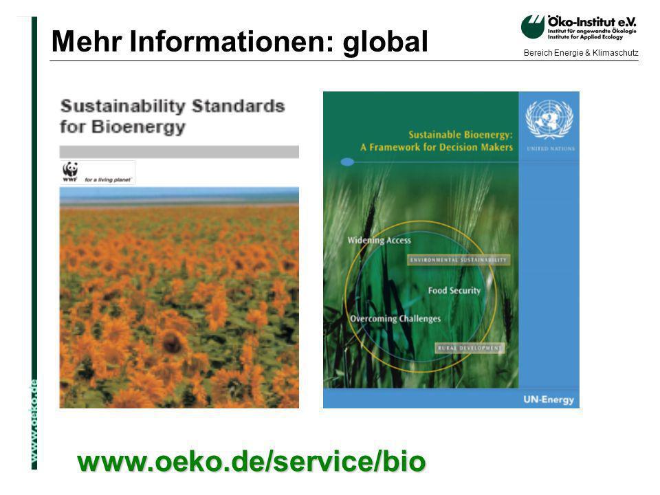 o.de Bereich Energie & Klimaschutz Mehr Informationen: global www.oeko.de/service/bio