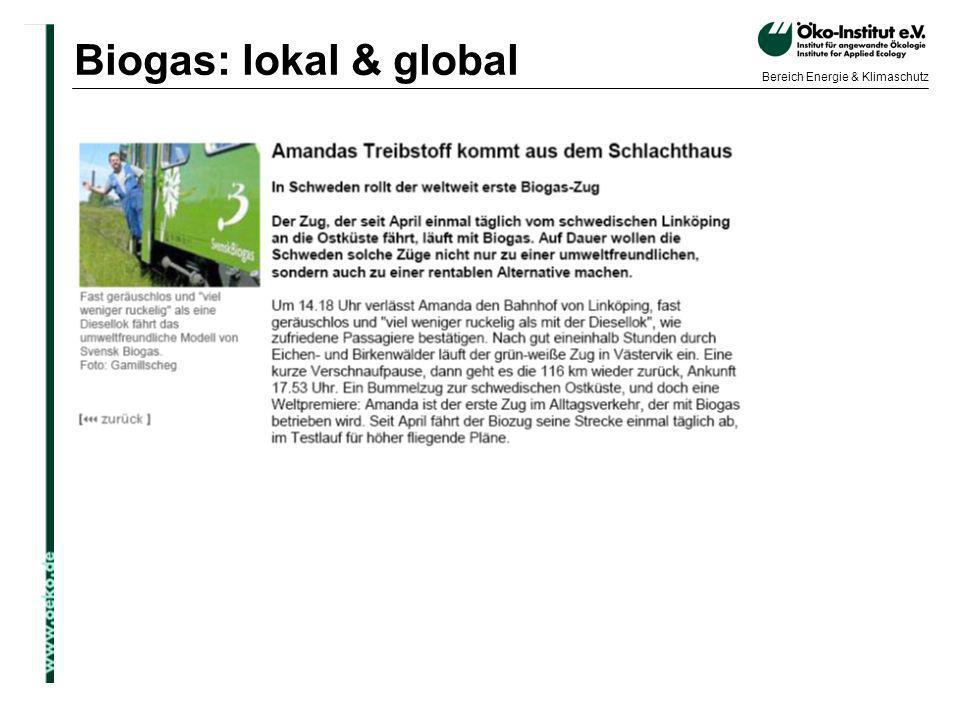 o.de Bereich Energie & Klimaschutz Biogas: lokal & global